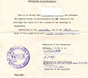 Wissy Certificate of Naturalization