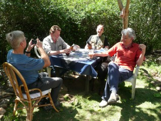 Beer at George's: from left, David C, George Penner, Tim, Bill Penner