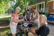 Kodai Class of '67 50th Reunion, Indian Meal Prepareation and Consumption in Loie's yard, Stevensville, Mt